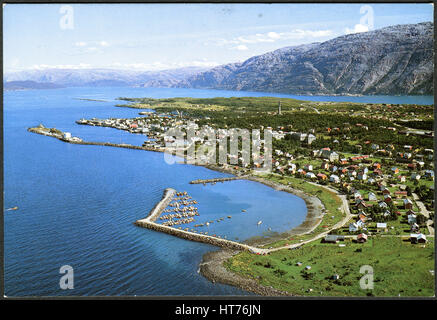 NORWAY - CIRCA 1981: A postcard printed in Norway, show the Sandnessjoen seen from the air, circa 1981 - Stock Image