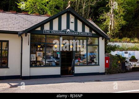 Front of The Original Cheddar Cheese co shop in Cheddar gorge, cheddar England - Stock Image