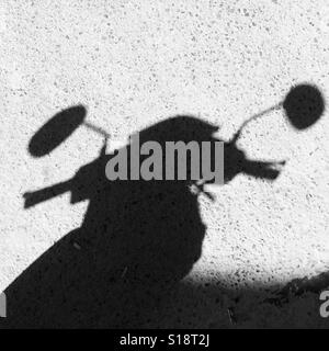Shadow of scooter handlebars and mirrors - Stock Image