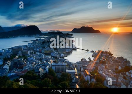 View across Ålesund with sunset - Stock Image