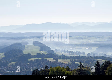 View From The Hohenpeissenberg To The Bavarian Pre-Alps - Stock Image