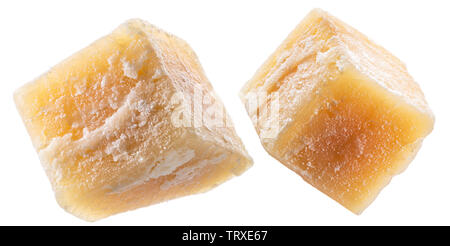 Parmesan cheese cubes isolated on white background. File contains clipping path. - Stock Image