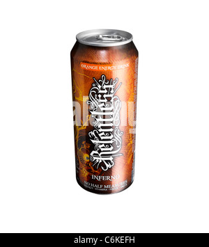 A cut out of a can of Relentless energy drink - Stock Image
