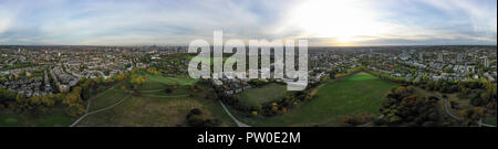 Aerial view 360 panorama London cityscape with urban architectures. Beautiful city skyline feat parks, residential neighborhood view of Primrose Hill - Stock Image