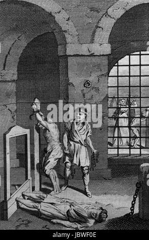 View inside the Lollard's Tower, showing Protestants being tortured. Engraving from c 1780 edition of The New - Stock Image