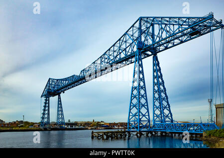 Middlesbrough Transporter bridge from Port Clarence on the north bank of the River Tees - Stock Image