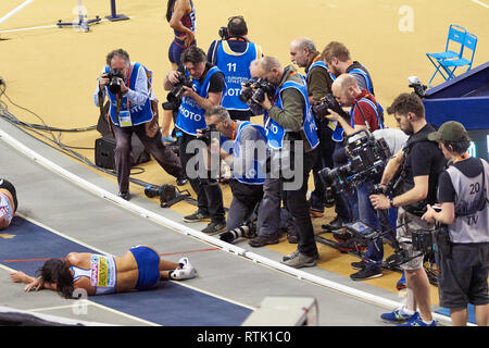 Glasgow, UK. 1st Mar, 2019. Katarina Johnson-Thompson win gold in the pentathlon on European Athletics Indoor Championships 2019. Credit: Pawel Pietraszewski/Alamy Live News - Stock Image