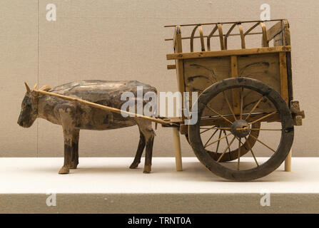 Wooden Cart. 266 AD-581 AD Unearthed at Tomb No.19, Karakhoja Ancient Tombs, Turpan, Xinjiang Uygur Autonomous Region in 1973. - Stock Image
