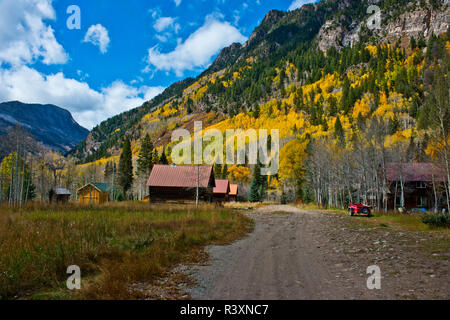 USA, Colorado, Marble, Lead King Basin Jeep Tour entering Ghost Town of Crystal - Stock Image