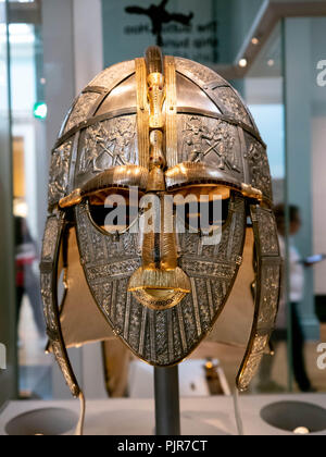 A replica of the Sutton Hoo helmet at the British Museum, England - Stock Image