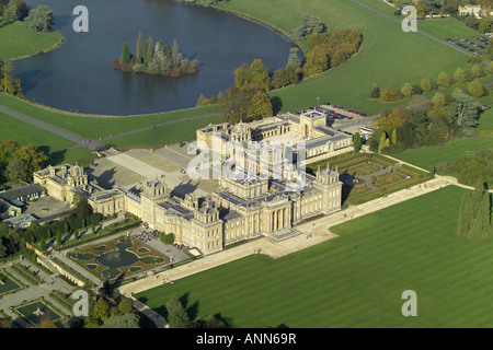 Aeiral view of Blenheim Palace with it's lake and formal gardens near Woodstock in Oxfordshire, once home to - Stock Image