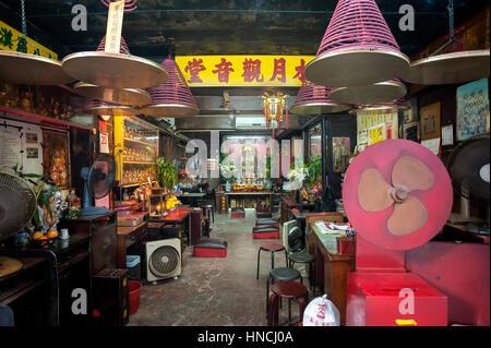 Interior of the Shui Yuet Kwun Yam Temple (Water & Moon Kwun Yam Temple) on Tai Ping Shan Street, Sheung Wan - Stock Image