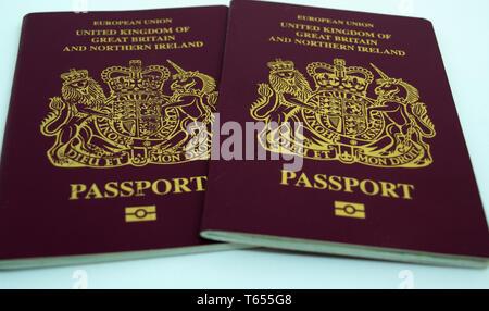2 European Union United Kingdom of Great Britain passports - Stock Image