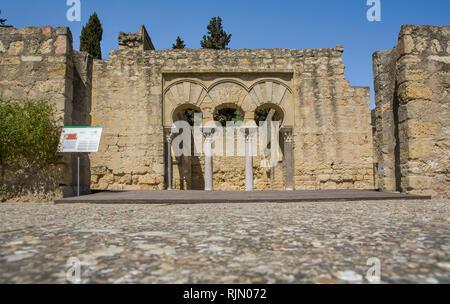 Córdoba, Spain - March 23, 2013: Medina Azahara Archaeological Site. Upper Basilica Building, Cordoba, Spain - Stock Image