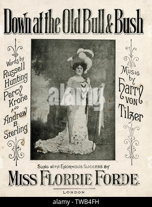 Music cover, Down at the Old Bull & Bush, words by Russell Hunting, Percy Krone and Andrew B Sterling, music by Harry Von Tilzer, sung with enormous success by Miss Florrie Forde.      Date: 1905 - Stock Image