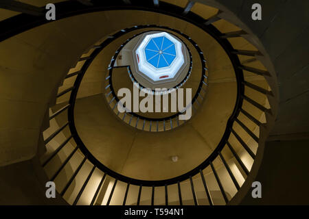 Circular stairway and octangonal rooflight New Court St Johns College Cambridge 2019 - Stock Image
