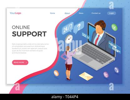 Isometric Online Customer Support - Stock Image