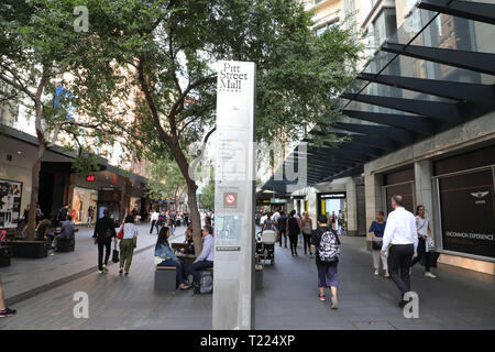 Pitt Street Mall, Sydney, Australia. - Stock Image