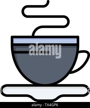 Tea, Cup, Coffee, Hotel  Flat Color Icon. Vector icon banner Template - Stock Image