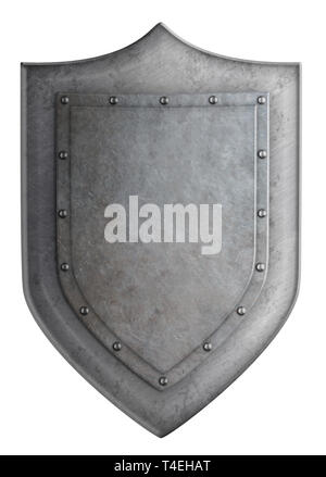 Medieval metal shield isolated on white 3d illustration - Stock Image