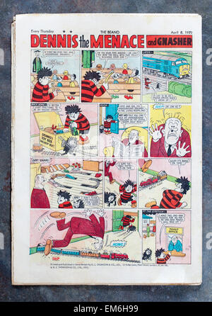 Back Page of a vintage copy of The Beano Comic Edition No 1551 April 8th 1972 featuring Dennis the Menace Story - Stock Image
