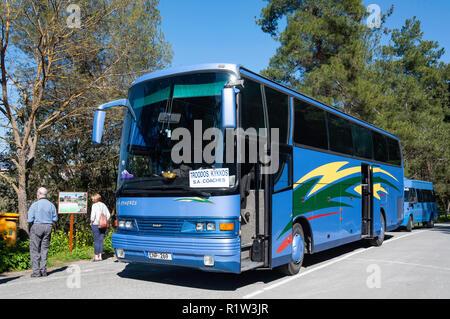 Excursion tour bus,  Pano Panagia, Troodos Mountains, Limassol District, Republic of Cyprus - Stock Image