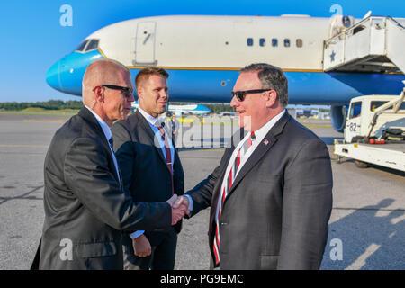 U.S. Secretary of State Michael R. Pompeo departs Helsinki, Finland on July 16, 2018. - Stock Image