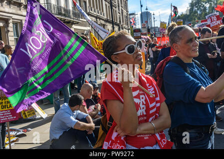 London, UK. 13th October 2018.  Unison members at the rally in London to oppose racism  and fascism close to where the racist, Islamophobic DFLA were ending their march on Whitehall bringing together various groups to stand in solidarity with the communities the DFLA attacks. The event was organised by Stand Up To Racism and Unite Against Fascism. Peter Marshall/Alamy Live News - Stock Image