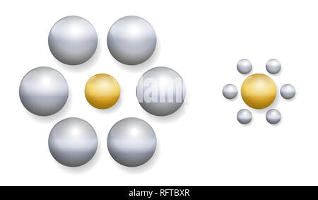 Ebbinghaus illusion with golden and silver balls. Optical illusion of relative size perception. - Stock Image
