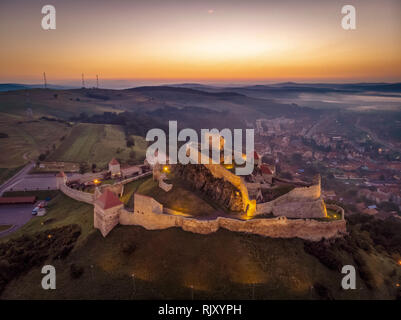 Romania from above before sunset in Transylvania. The Rupea Fortress - Stock Image