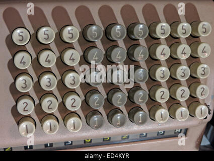 Comptometer - key-driven mechanical calculator showing numbered button keys - Stock Image