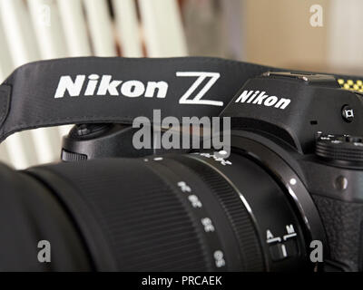 Close up of a new Nikon Z 7 mirrorless camera used for professional photography. - Stock Image