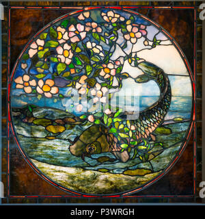 The Fish, The Fish and Flowering Branch, John La Farge, american, leaded stained glass, circa 1890, Museum of Fine Arts, Boston, Mass, USA, North Amer - Stock Image