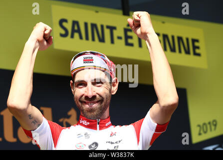 Macon to Saint-Etienne, France. 13th July 2019. Macon to Saint-Etienne, France.  Macon  to Saint-Etienne, France. 13th July 2019,  Macon to Saint-Etienne, France; Tour de France cycling tour, stage 8; Thomas De Gendt, (BEL) Lotto Soudal on the podium Credit: Action Plus Sports Images/Alamy Live News Credit: Action Plus Sports Images/Alamy Live News Credit: Action Plus Sports Images/Alamy Live News - Stock Image