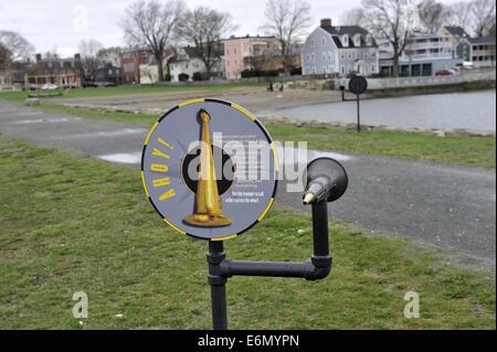 Educational installation explaining Nautical Trumpet. Salem Maritime National Historic Site, Salem, Massachusetts - Stock Image