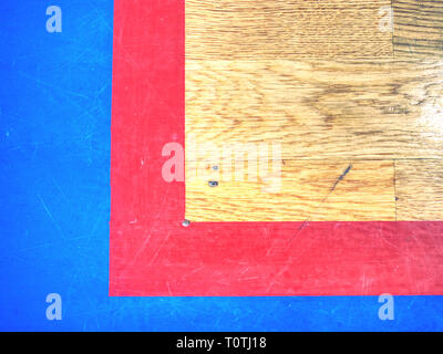 Gymnasium floor. Empty basketball court with line outdoor public. Reflection in wood surface - Stock Image