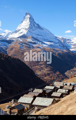 The Matterhorn and the Small Village of Findeln above Zermatt, Valais, Switzerland - Stock Image