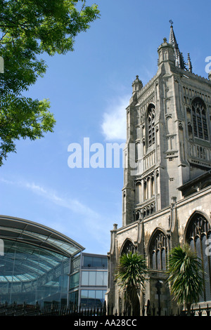 St Peter Mancroft church and the Millennium Library Norwich Norfolk UK - Stock Image