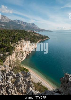 Famous Nugal beach on Makarska riviera aerial view - Stock Image