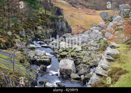 Ogwen Falls is where the Ogwen River starts its journey from Llyn Ogwen into the Nant Ffrancon valley in Snowdonia, North Wales. - Stock Image