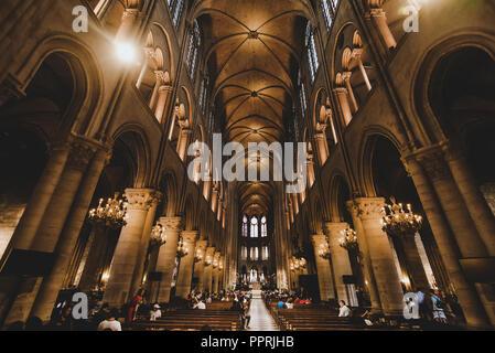 Notre Dame de Paris Cathedral Interior - Stock Image