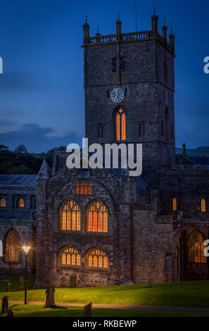 Saint David's catherdral at dusk, Pembrokeshire, Wales - Stock Image