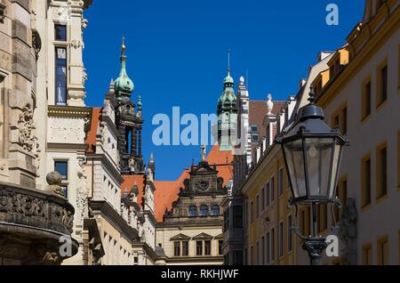 Historic architectural ensemble of the Residential Palace in Dresden, Saxony, Germany. - Stock Image
