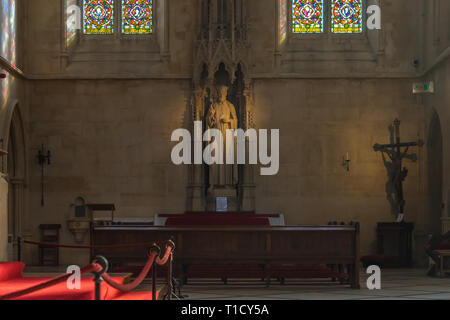 The statue of St. (Saint) Philip Neri inside of Arundel Cathedral, interior scene, West Sussex, England, UK - Stock Image
