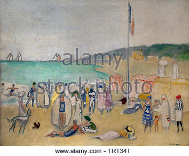 Beach at Deauville by Kees van Dongen (Cornelis Theodorus Maria) born in 1877 was a Dutch-French painter who was one of the leading Fauves. The Netherlands, France. - Stock Image