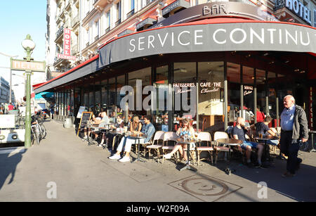 Typical Parisian cafe Paris Nord located next Gare du Nord railway station in Paris, France. - Stock Image