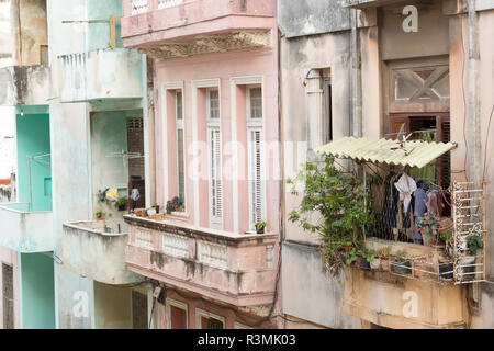 Cuba, Havana. Balconies on residences. Credit as: Wendy Kaveney / Jaynes Gallery / DanitaDelimont.com - Stock Image
