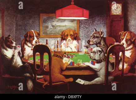 Dogs Playing Poker by Cassius Marcellus Coolidge - Stock Image