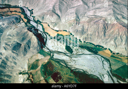Aerial View of Desert Valley Near Nasca, Peru - Stock Image
