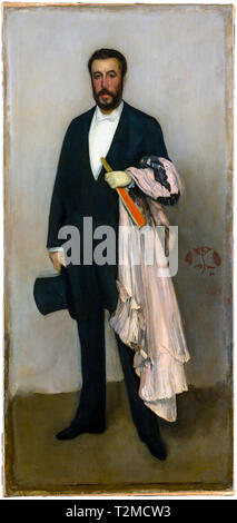 Arrangement in Flesh Colour and Black: Portrait of Theodore Duret (1838-1927) by James McNeill Whistler, 1883 - Stock Image
